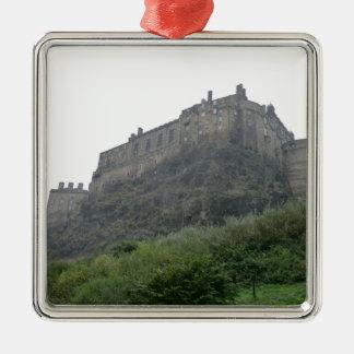 Edinburgh Castle in the Mist Silver-Colored Square Ornament
