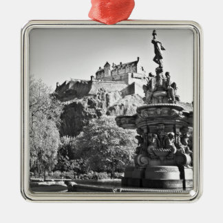 Edinburgh Castle, Scotland Silver-Colored Square Ornament