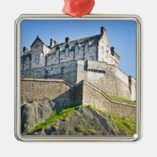 Edinburgh Castle Silver-Colored Square Ornament