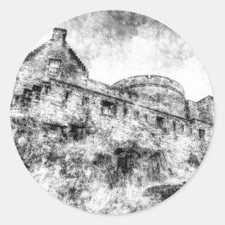Edinburgh Castle Vintage Classic Round Sticker