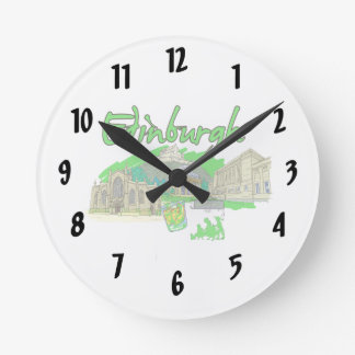edinburgh city green travel vacation image.png wall clock