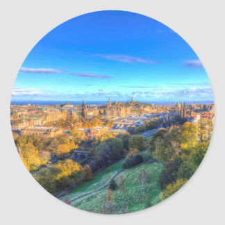 Edinburgh City View Classic Round Sticker