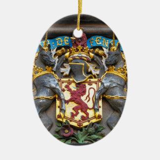 Edinburgh coat of arms, Scotland Ceramic Oval Ornament