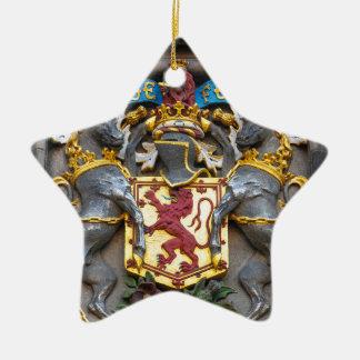 Edinburgh coat of arms, Scotland Ceramic Star Ornament