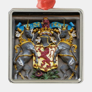 Edinburgh coat of arms, Scotland Silver-Colored Square Ornament