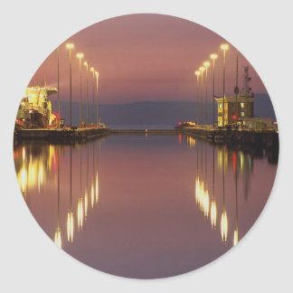 Edinburgh Leith docks, gates at harbor entrance Classic Round Sticker