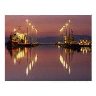 Edinburgh Leith docks, gates at harbour entrance Postcard