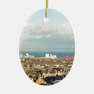 Edinburgh panorama ceramic oval ornament
