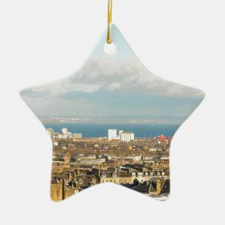 Edinburgh panorama ceramic star ornament