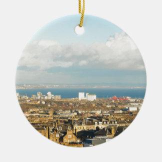 Edinburgh panorama round ceramic ornament