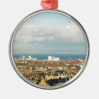 Edinburgh panorama Silver-Colored round ornament