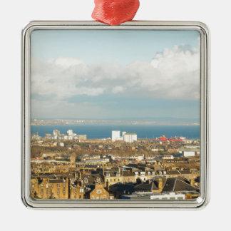 Edinburgh panorama Silver-Colored square ornament