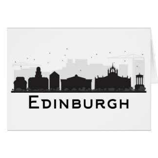Edinburgh Scotland | Black and White Skyline Card