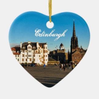 Edinburgh, Scotland Ceramic Heart Ornament