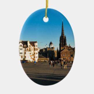 Edinburgh, Scotland Ceramic Oval Ornament