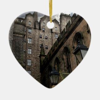 Edinburgh, Scotland Side Street Ceramic Heart Ornament