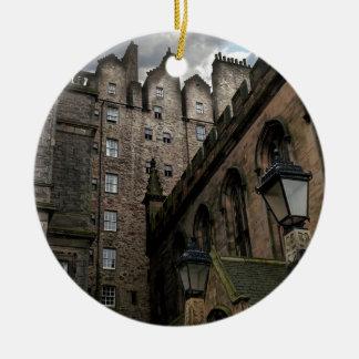 Edinburgh, Scotland Side Street Round Ceramic Ornament