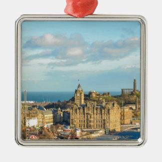 Edinburgh, Scotland Silver-Colored Square Ornament