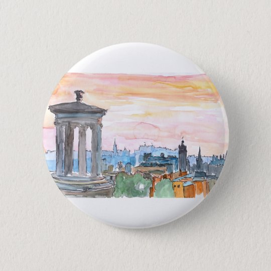 Edinburgh Scotland Skyline at Dusk 2 Inch Round Button