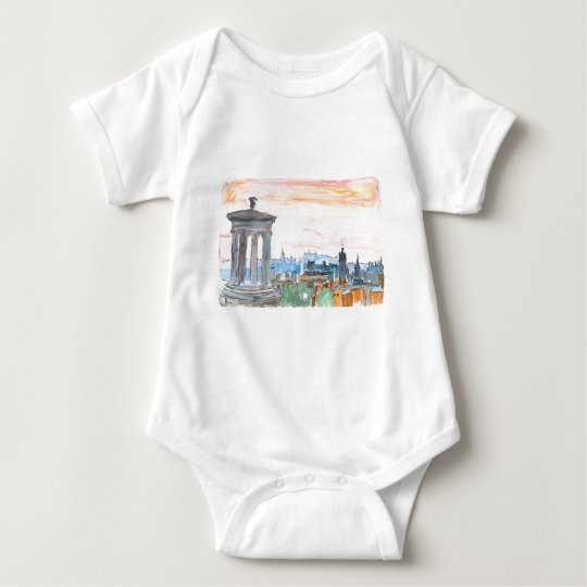 Edinburgh Scotland Skyline at Dusk Baby Bodysuit
