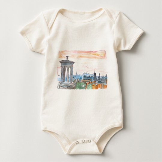 Edinburgh Scotland Skyline at Dusk Baby Bodysuit