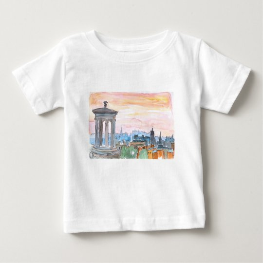 Edinburgh Scotland Skyline at Dusk Baby T-Shirt