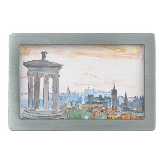 Edinburgh Scotland Skyline at Dusk Belt Buckle