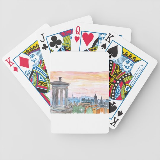 Edinburgh Scotland Skyline at Dusk Bicycle Playing Cards