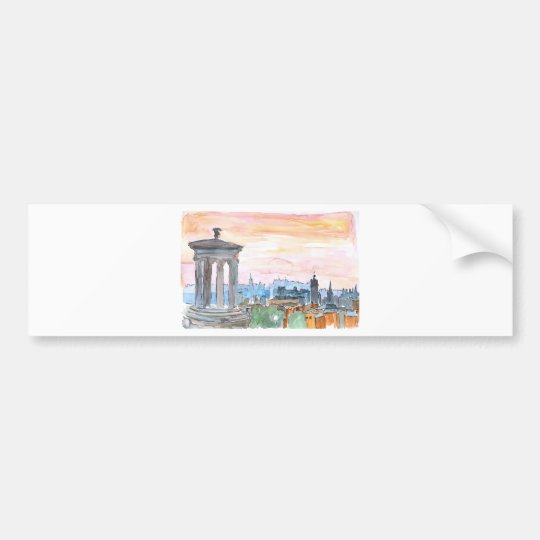 Edinburgh Scotland Skyline at Dusk Bumper Sticker