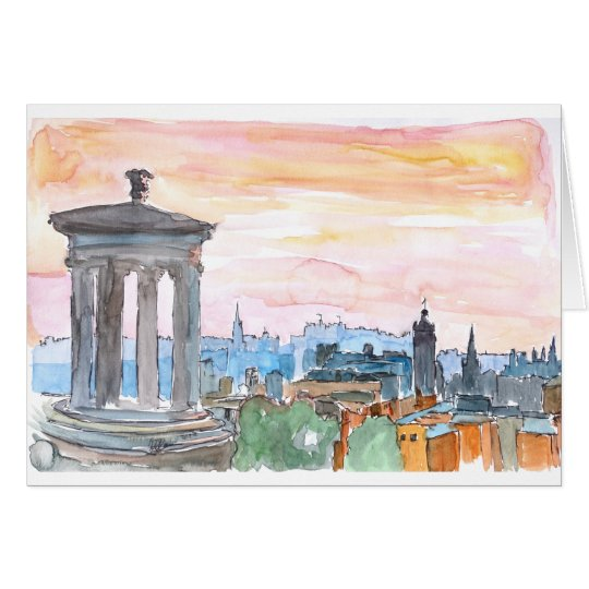 Edinburgh Scotland Skyline at Dusk Card