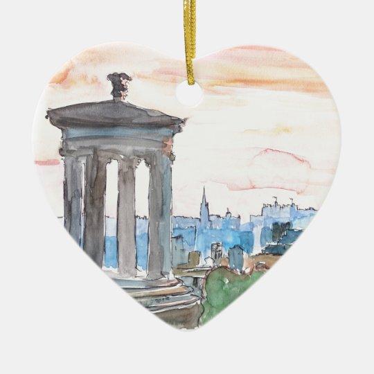 Edinburgh Scotland Skyline at Dusk Ceramic Ornament