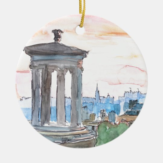 Edinburgh Scotland Skyline at Dusk Ceramic Ornament