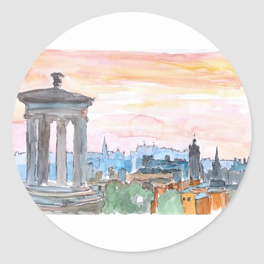 Edinburgh Scotland Skyline at Dusk Classic Round Sticker