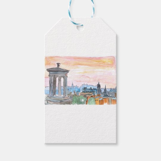 Edinburgh Scotland Skyline at Dusk Gift Tags