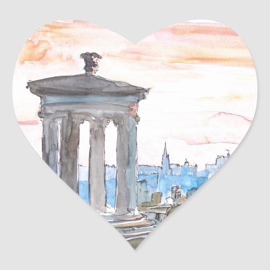 Edinburgh Scotland Skyline at Dusk Heart Sticker