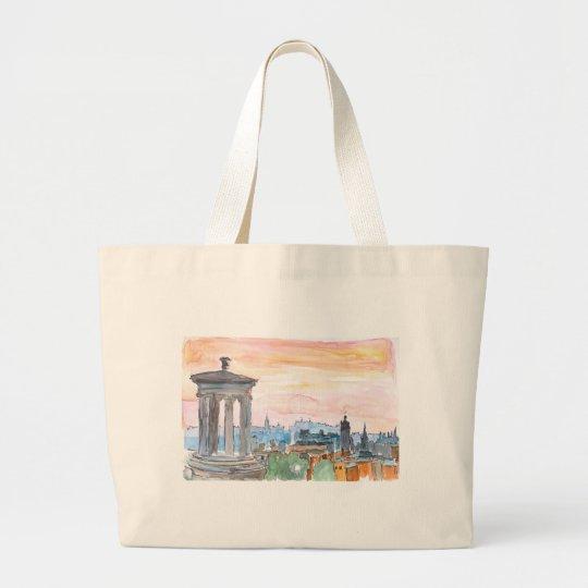 Edinburgh Scotland Skyline at Dusk Large Tote Bag