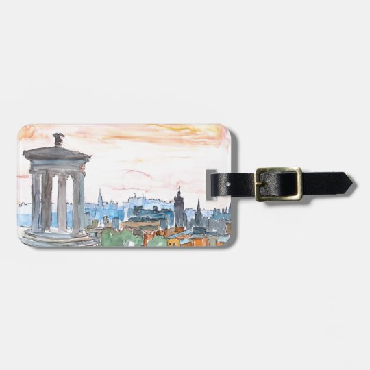 Edinburgh Scotland Skyline at Dusk Luggage Tag