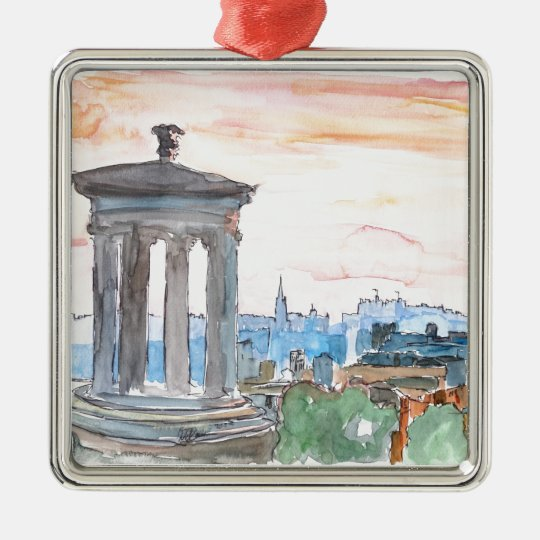 Edinburgh Scotland Skyline at Dusk Metal Ornament