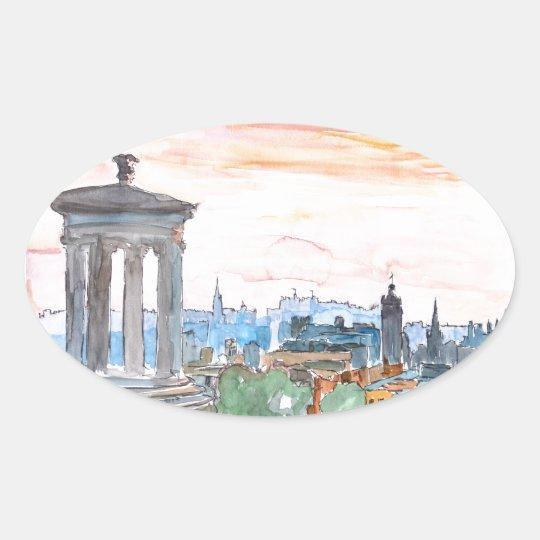 Edinburgh Scotland Skyline at Dusk Oval Sticker