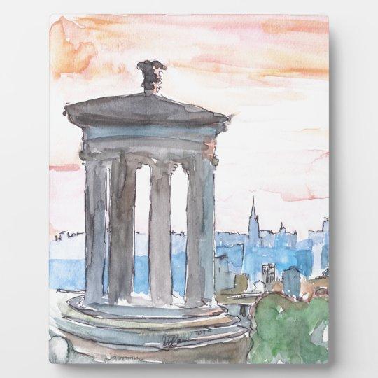 Edinburgh Scotland Skyline at Dusk Plaque
