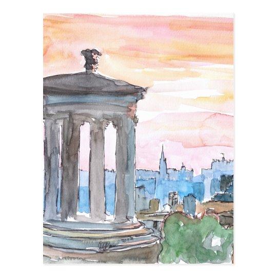 Edinburgh Scotland Skyline at Dusk Postcard