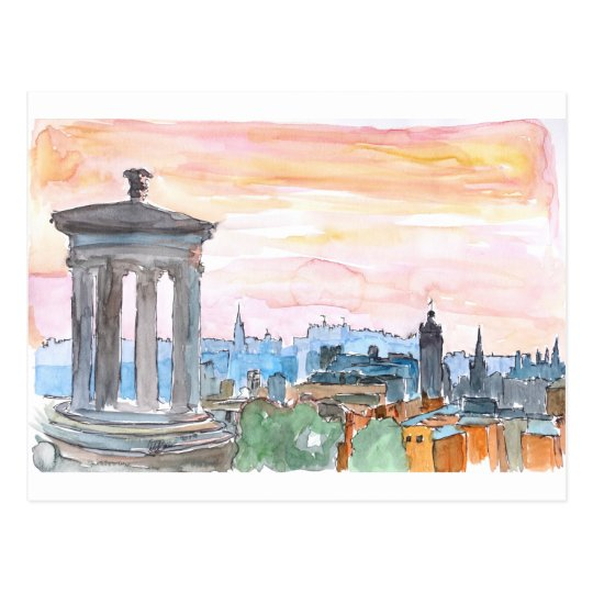 Edinburgh Scotland Skyline at Dusk Postcard