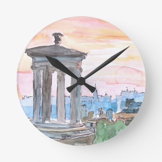Edinburgh Scotland Skyline at Dusk Round Clock