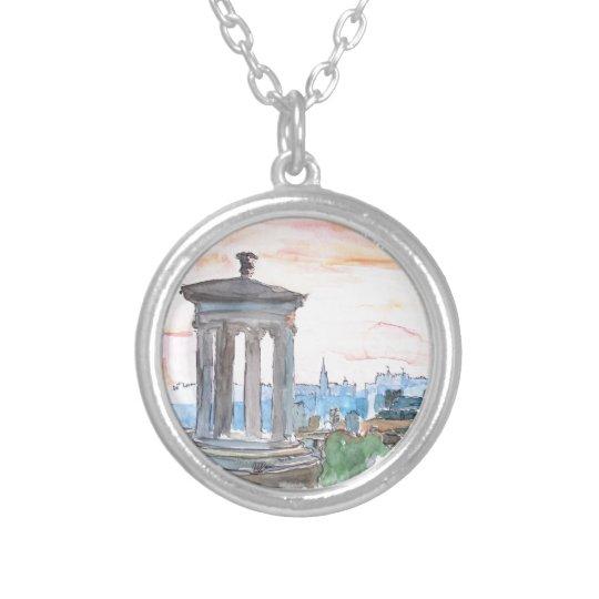 Edinburgh Scotland Skyline at Dusk Silver Plated Necklace
