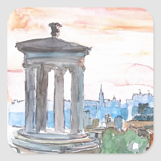 Edinburgh Scotland Skyline at Dusk Square Sticker