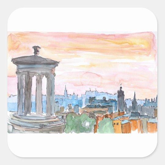 Edinburgh Scotland Skyline at Dusk Square Sticker