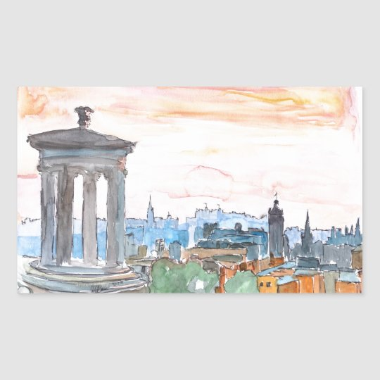 Edinburgh Scotland Skyline at Dusk Sticker