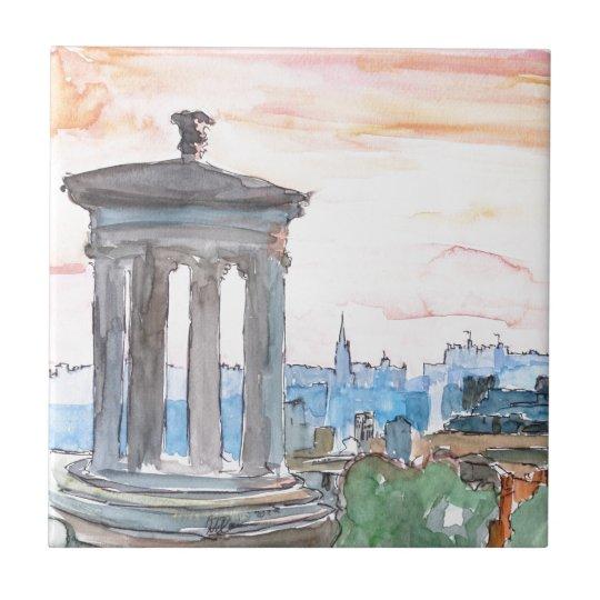 Edinburgh Scotland Skyline at Dusk Tile