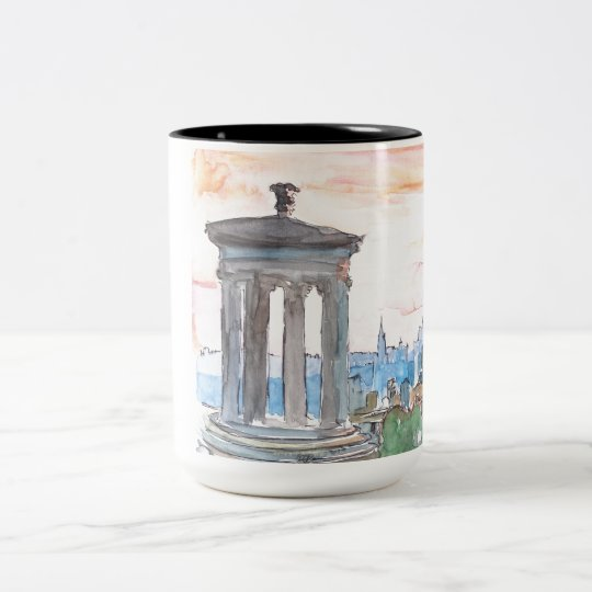Edinburgh Scotland Skyline at Dusk Two-Tone Coffee Mug