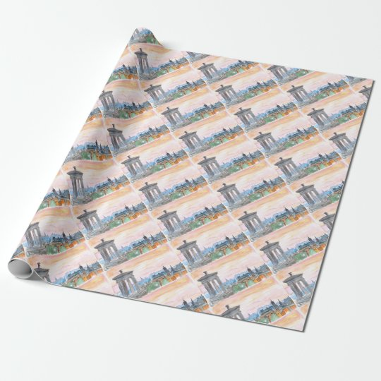 Edinburgh Scotland Skyline at Dusk Wrapping Paper